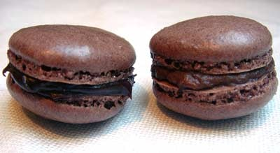 Chocolate and prune macaron, via David Lebovitz