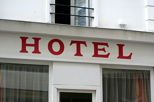 red hotel sign