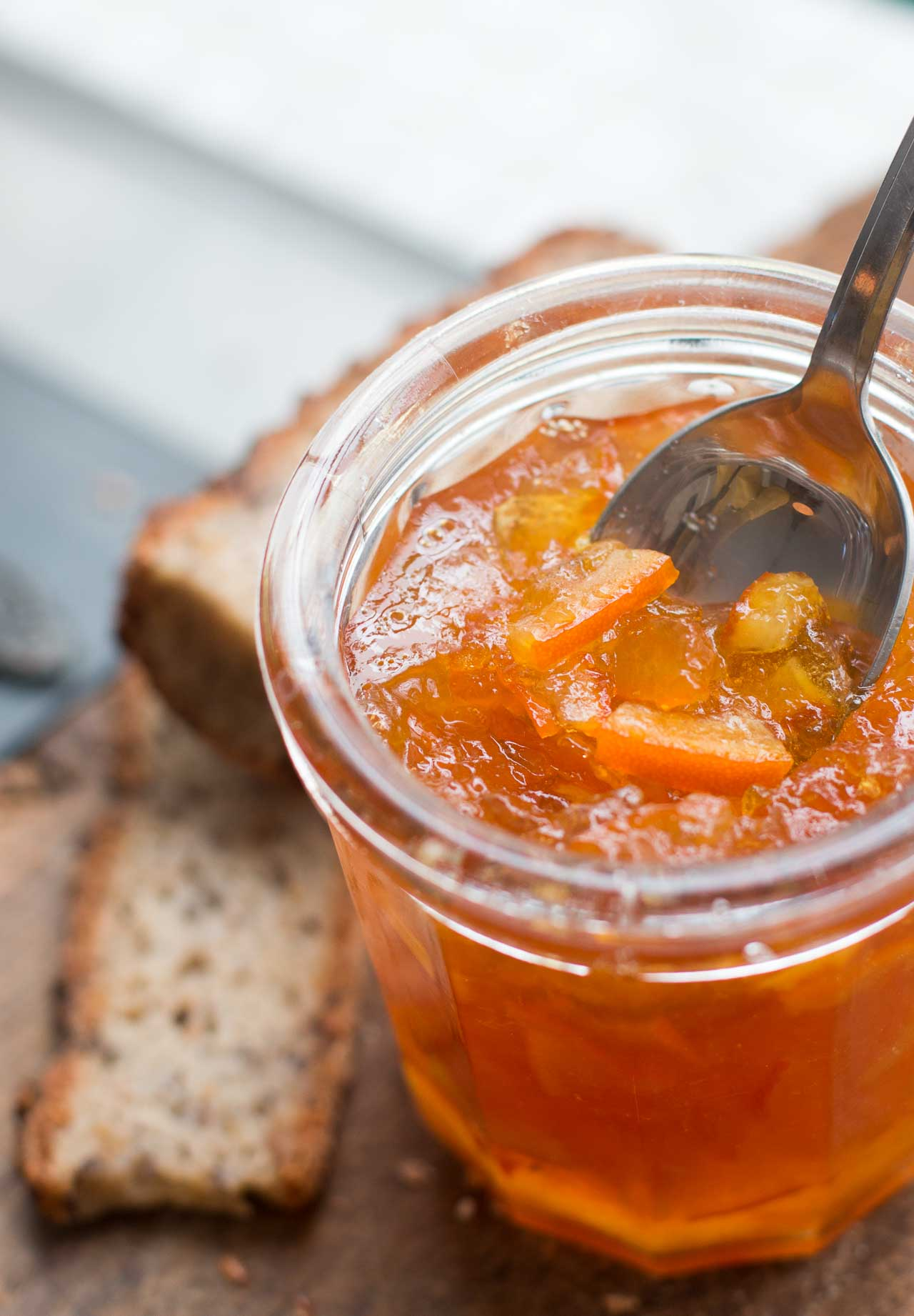 Delicious Seville orange marmalade using tart oranges.