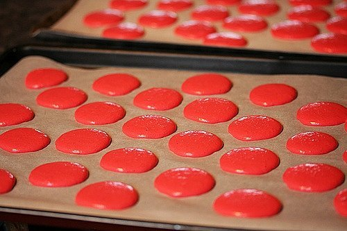 piped macarons