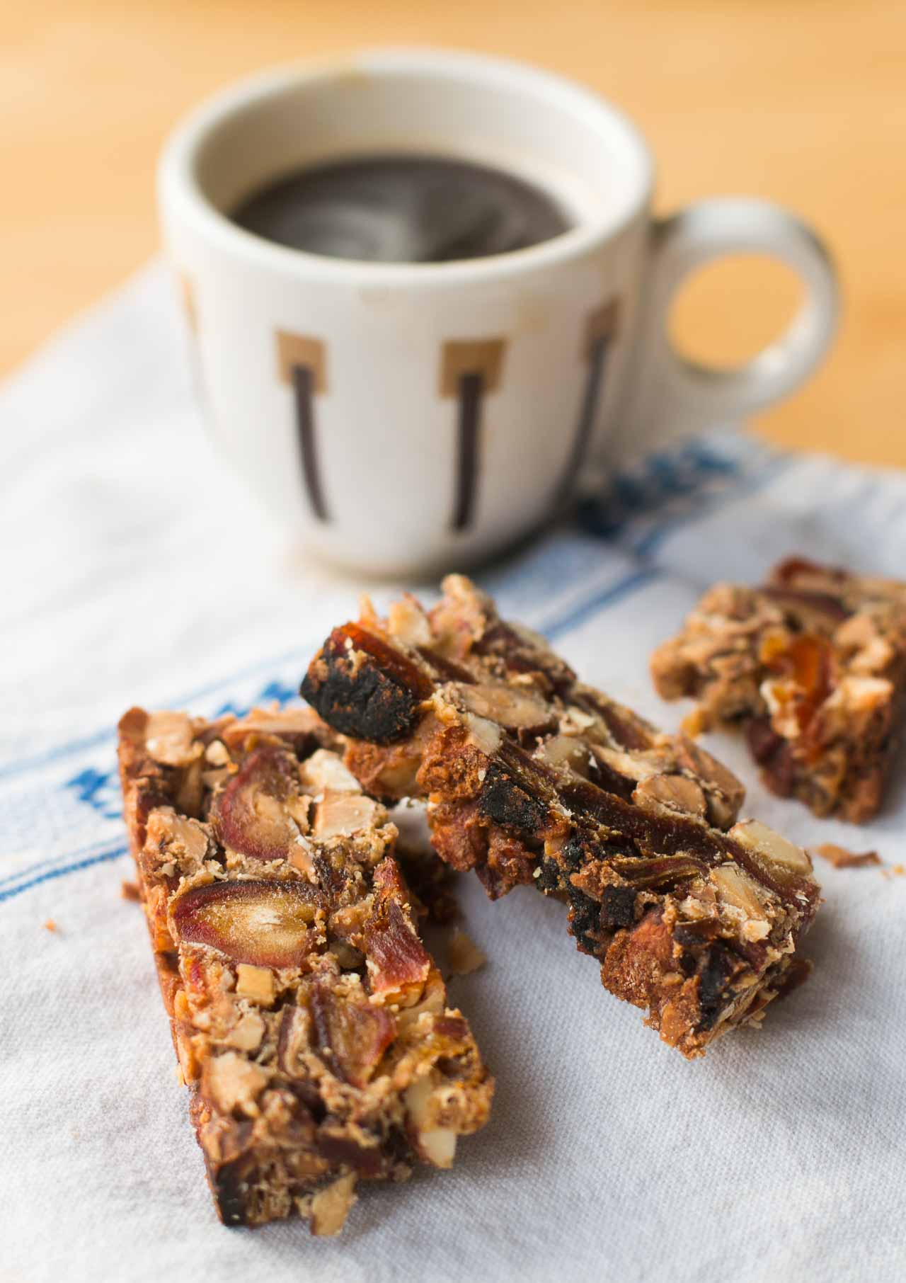 Delicious holiday-friendly (and lowfat) fruitcake bars, packed with dried fruit and nuts. Easy!