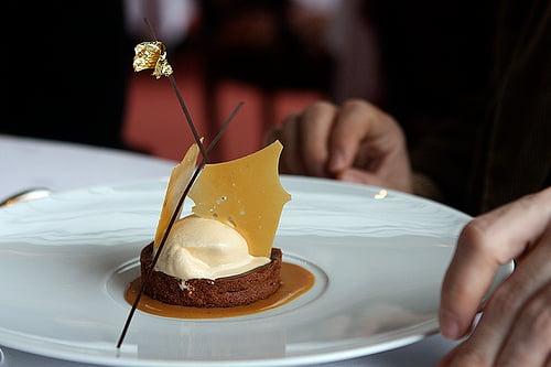 chocolate tart with salted caramel ice cream