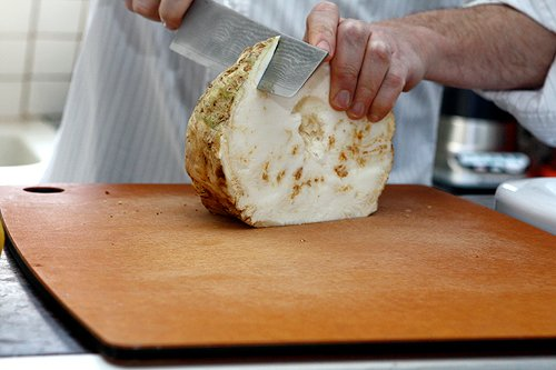 slicing celery root 2
