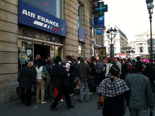 Air France mob scene