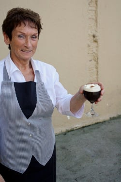 Irish woman with Irish coffee