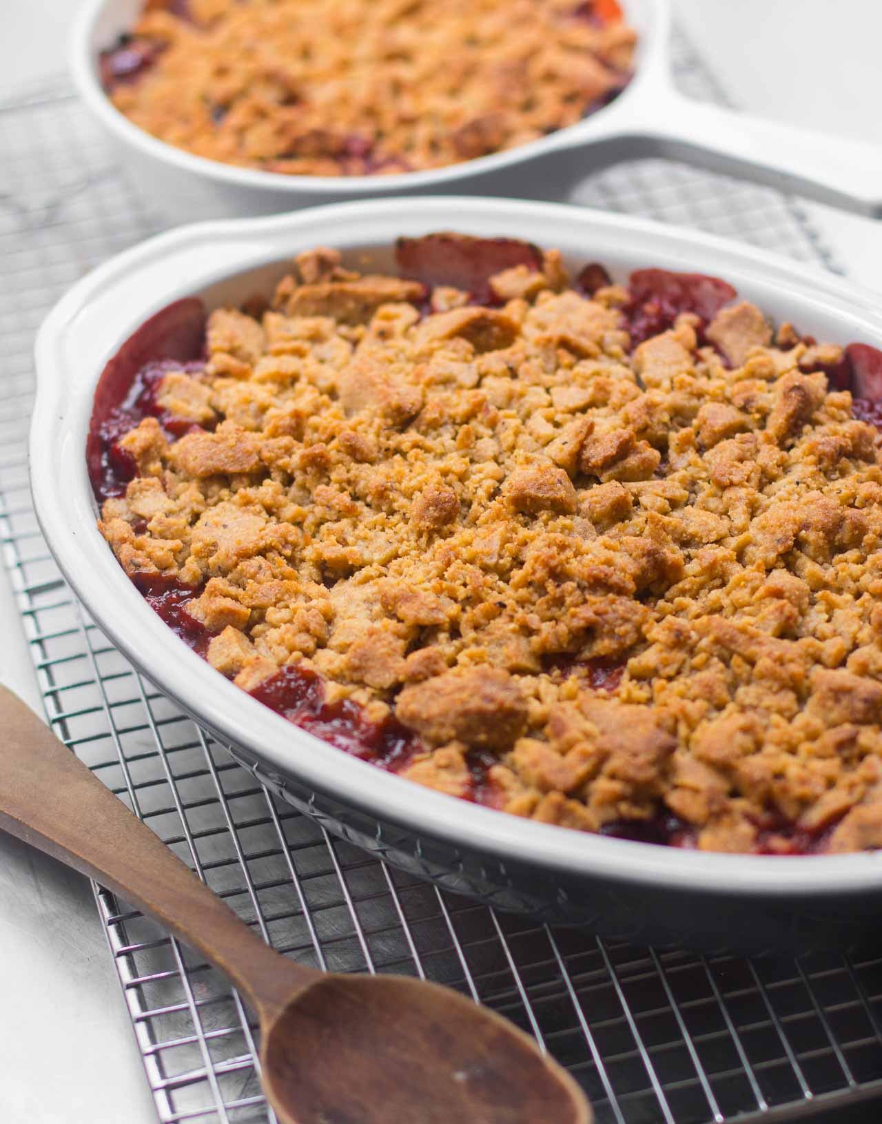 A juicy, delicious fruit crisp with flavorful plums and tangy rhubarb!