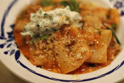 pasta with eggplant, tomatoes, ricotta