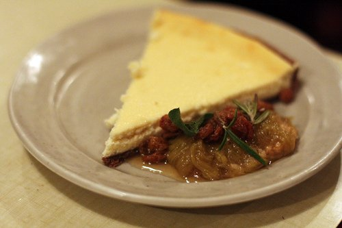 ricotta tart with rhubarb compote