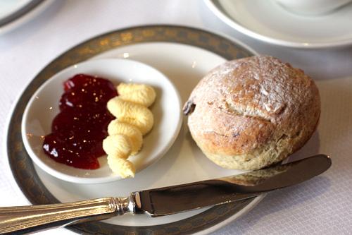 scone, jam, butter