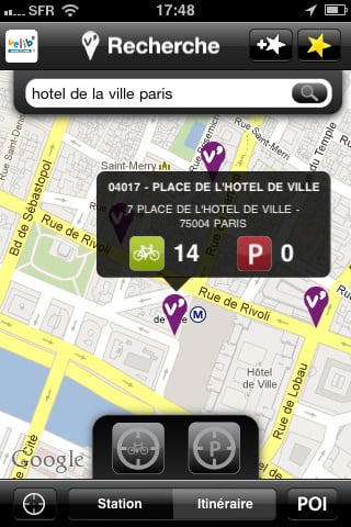 application velib blackberry