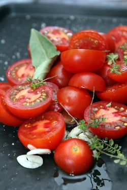 unroasted tomatoes for tomato basil pizza
