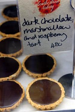 chocolate marshmallow raspberry tart