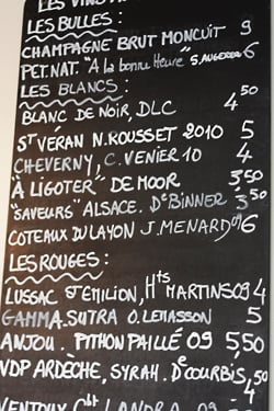 wine list at Le Siffleur de Ballons