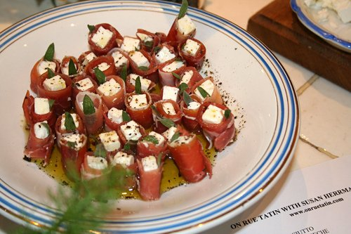 French appetizers dukkah feta wrapped with prosciutto for French canape menu