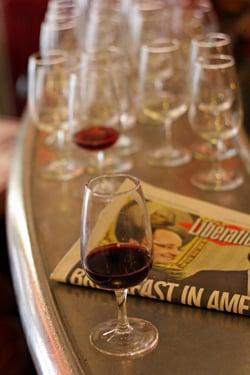 red wine at bar