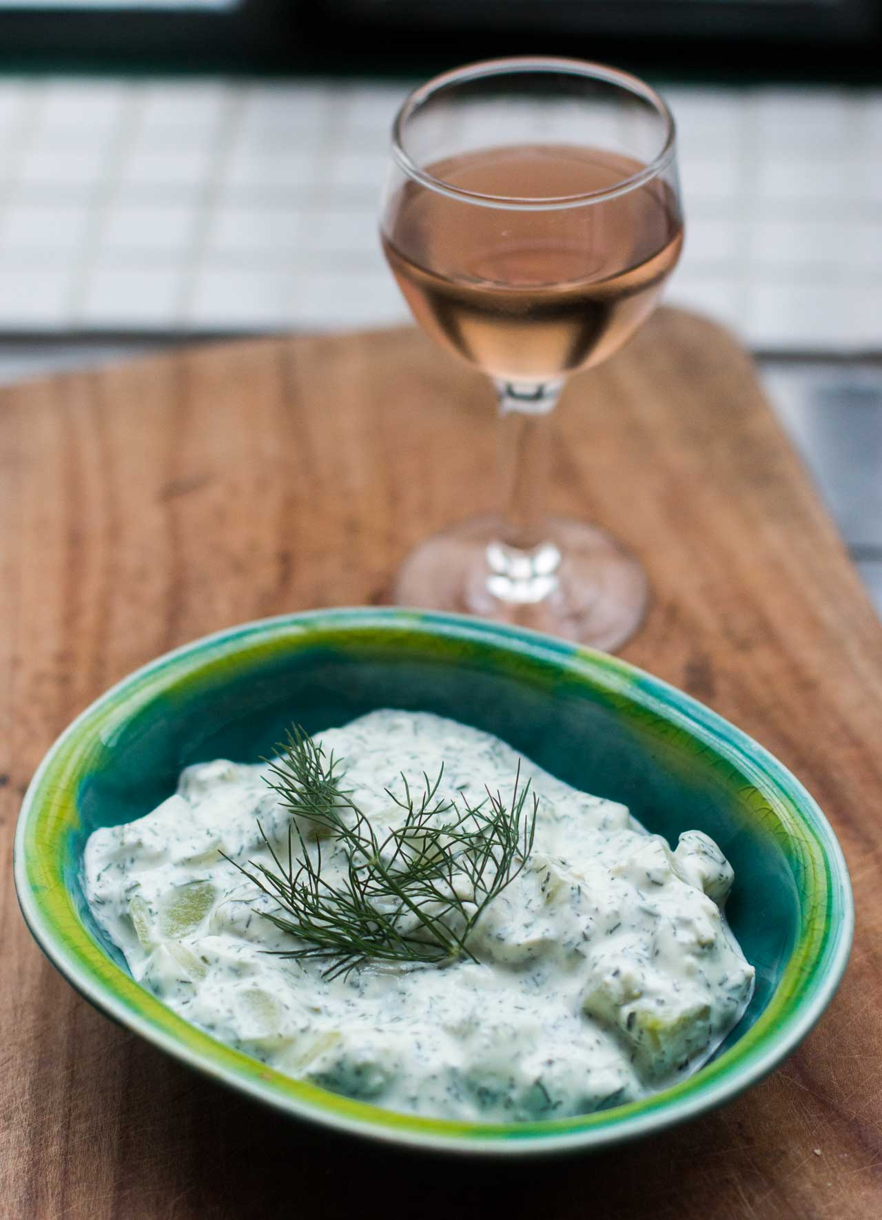 Tzatziki: Cucumber and Yogurt Salad with Fresh Mint and Dill