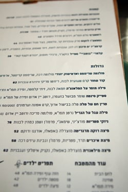 hebrew menu