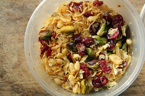 cranberries, pistachios, garlic