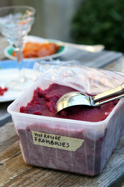 red wine-raspberry sorbet