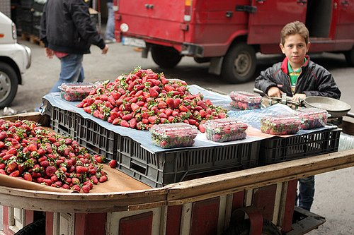 Lebanese strawberries on cart