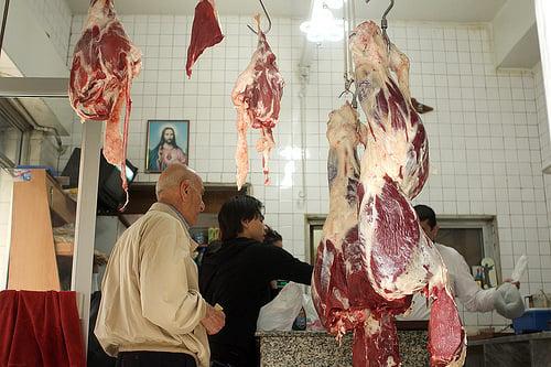 lamb at butcher shop