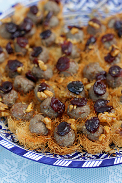 venison and sour cherry nests