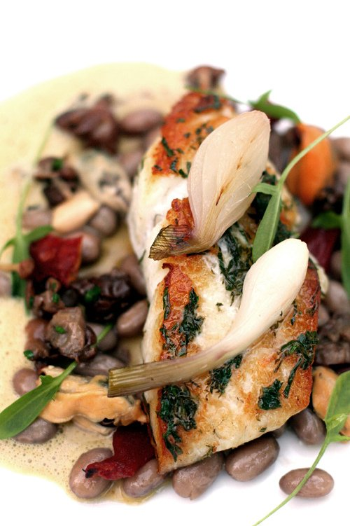 wild turbot with fresh shelling beans