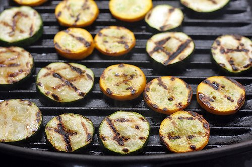 grilled rounds of zucchini