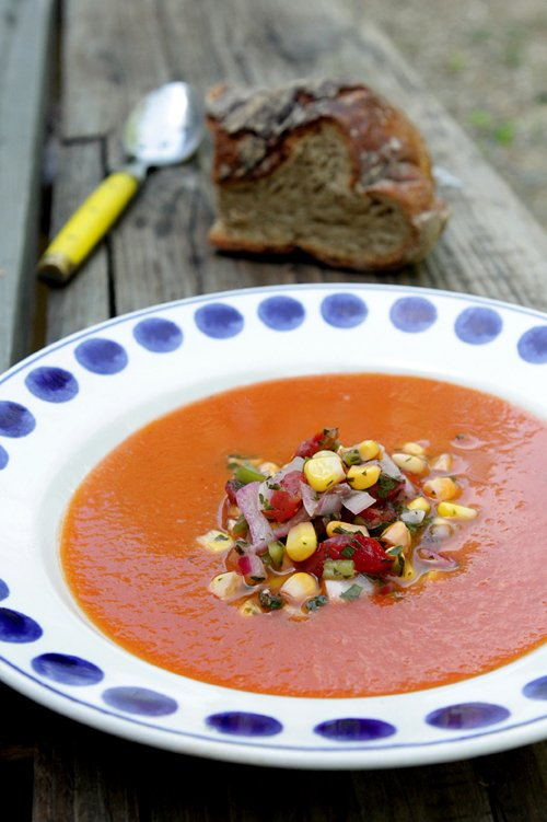 Roasted Tomato Soup with Corn Salsa