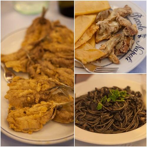 sardines, artichokes + squid ink pasta