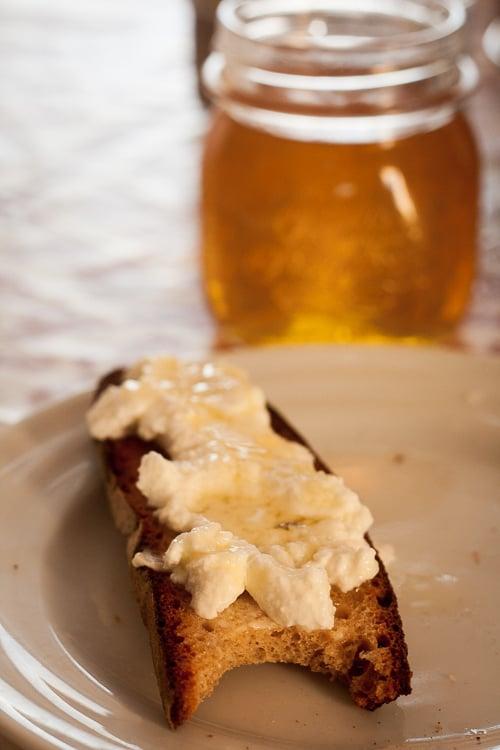 ricotta and honey on toast
