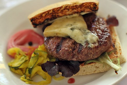 Zuni hamburger with blue cheese