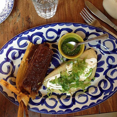 chicken mole and squash blossom quesadilla