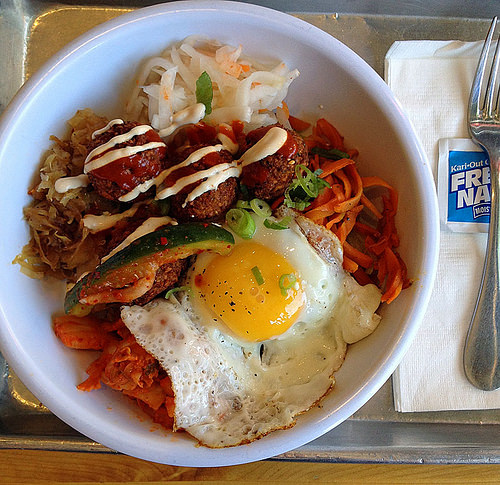 falafel kimchi rice bowl