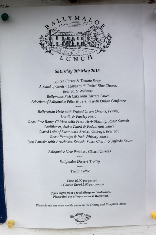 Ballymaloe House menu