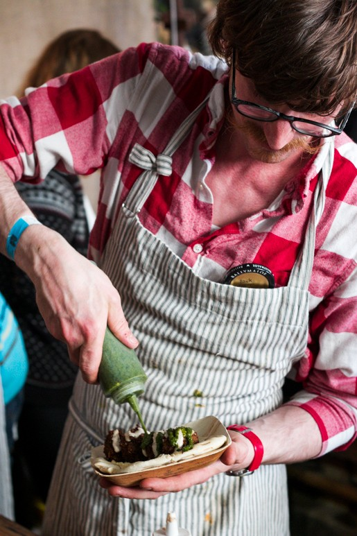 Falafel maker at Kerrygold Ballymaloe Literary Festival in Cork, Ireland
