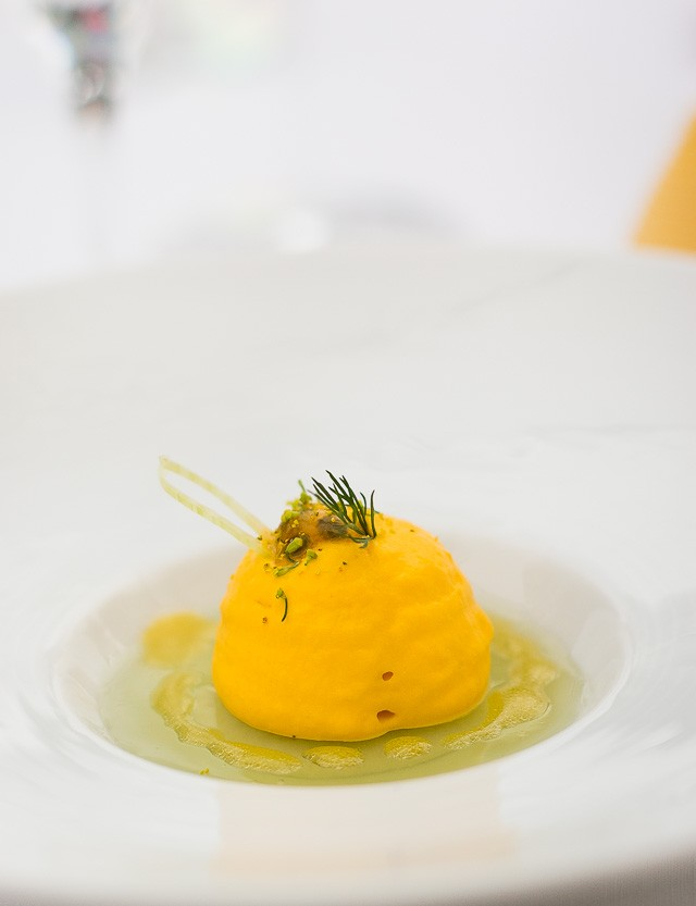 Carrot fennel mousse at Le Bristol Hotel, Paris