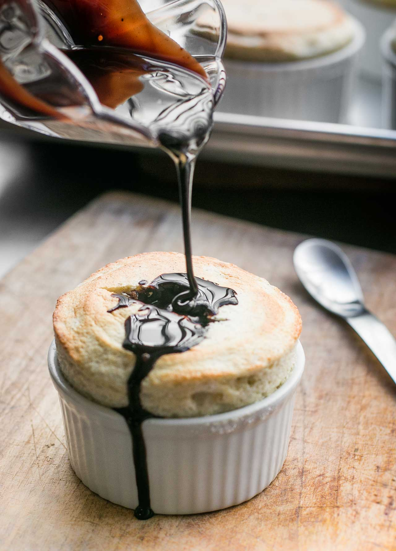 A classic soufflé with French liqueur and a dose of dark chocolate