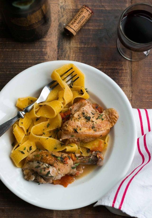 Chicken cooked in red wine vinegar