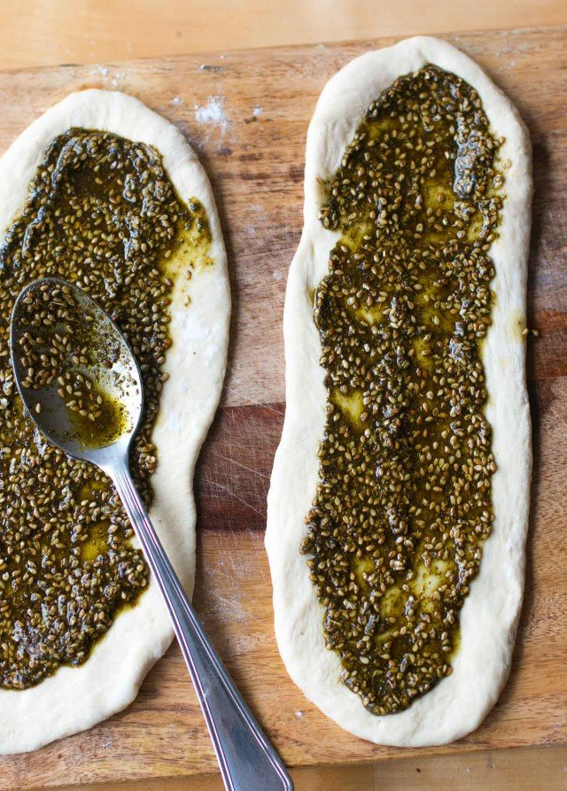 Manoushe zaatar flatbread