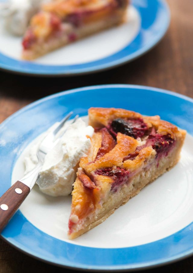 Frangipan French fruit tart recipe with nectarines and raspberries