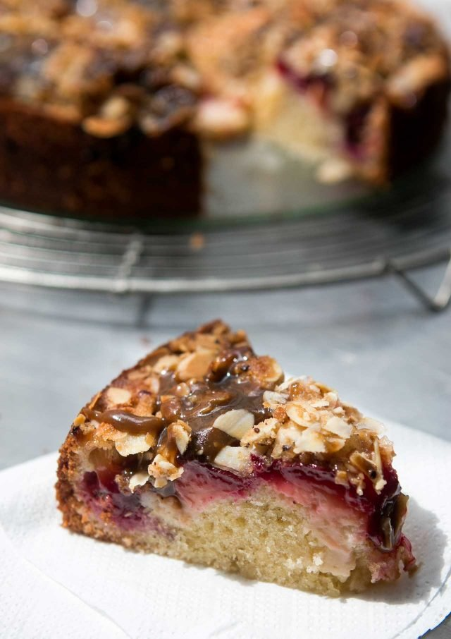 Spiced Plum cake recipe with toffee glaze-7