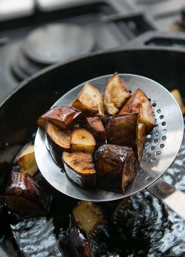 Cooking eggplant for Caponata recipe