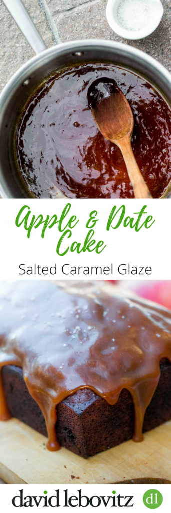 This easy, spiced loaf cake recipe has dates and apples, then is glazed with a lusciously smooth salted butter caramel glaze. Perfect for holiday baking!