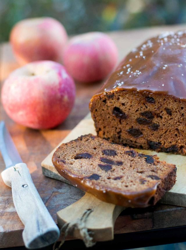 Apple Date Cake with Salted Caramel Glaze recipe