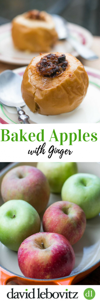 Lively flavored baked apples with the zing of candied ginger in the filling. Serve warm with vanilla ice cream. The perfect (easy) fall and winter dessert!