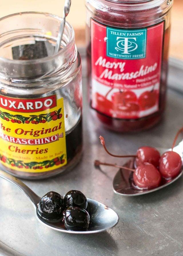 Black Manhattan Cocktail - maraschino cherries