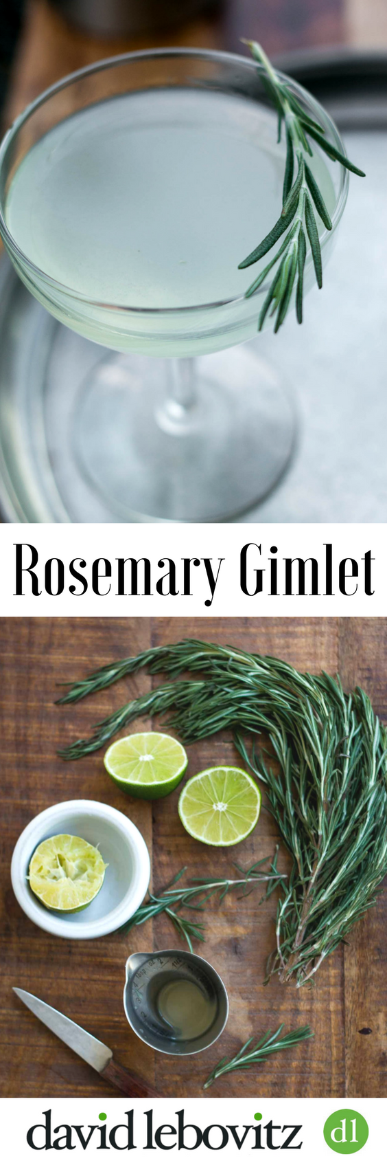 The perfect cocktail! Gin, fresh lime and rosemary syrup.