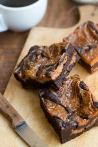 Chocolate brownie recipe with salted butter cream cheese swirl