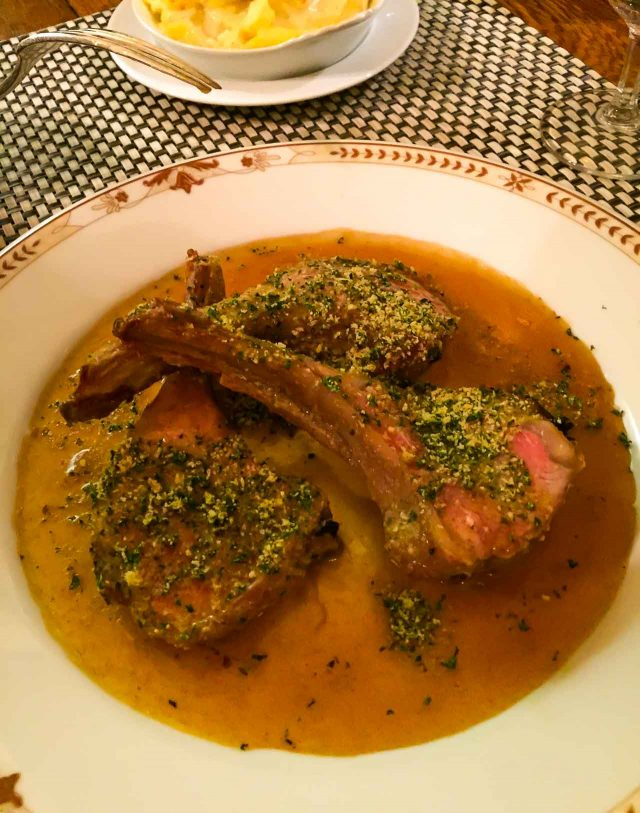 Lamb chops at Moissonnier Paris restaurant